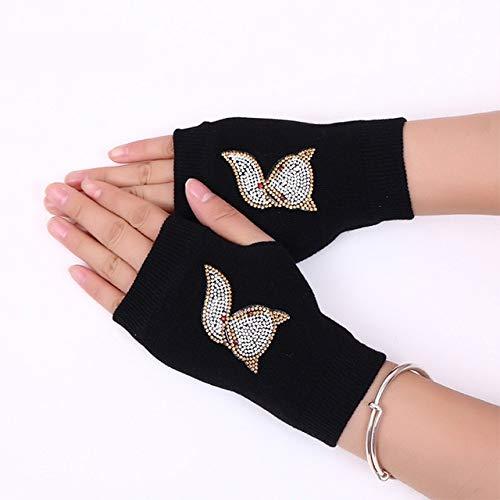 Kbwl Neue Dame Strass Fingerlose Handschuhe Frauen männer Funkelnde gestrickte mädchen Junge Schwarze Wolle Half Finger Computer Handschuhe warm 7 - Strass Damen Handschuh