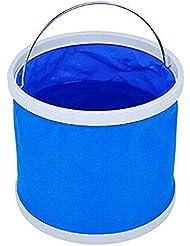 11 L plegable plegable agua cubo multifuncional para FishinCamping senderismo viajes jardinería con empuñadura de EVA de la manija, Fabric(pack of 2) resistente al agua