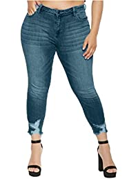 Frenchenal-Jeans Grande Taille Automne Hiver Femmes Élastique Bouton Lâche  Casual Petits Pieds Trou Ripped 85ae100c671