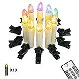 Yorbay 10er LED Kerzen kabellose Weihnachtskerzen IP64 wasserdicht RGB&Warmweiß mit Batterien, Dimmbar mit Fernbedienung und Timerfunktion, als Dekoration für Weihnachten, Weihnachtsbaum, Hochzeit