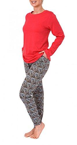 Damen Pyjama langarm, Hose im Leopardenlook - 171 201 90 860 Rot