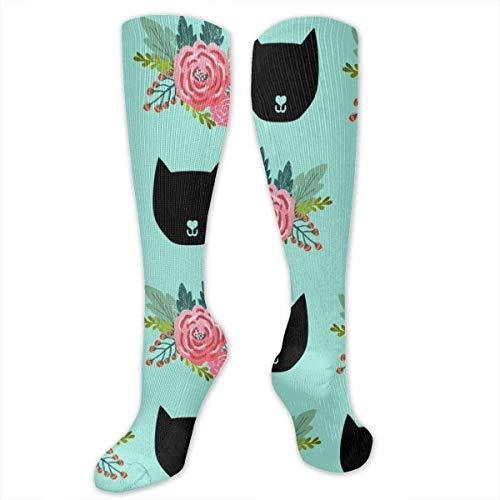cat Head Silhouette Mint Crew Socks Cotton Casual Knitting Warm Winter Socks