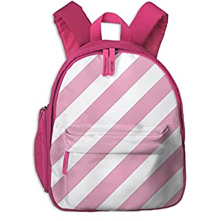 Childrens Backpack for Girls,Stripes Diagonal Unicorn Quilt Nursery Fabric Pink_4350-charlottewinter,for Children's Schools Oxford Cloth (Pink)