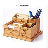 Business Massivholz Stifthalter, Kreativstift veranstalter briefpapier halterung schreibtisch organizer multi-funktions-schreibtisch dekoration-Bambus 20x16x11cm(8x6x4inch)
