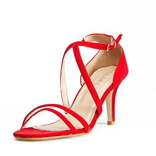 GLAMZ Sandales Pour Femme Femme red