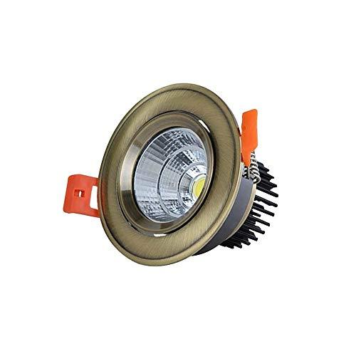 Vinteen European Style COB Downlight LED Strahler Grün Bronze Rot Bronze Deckenleuchte Lampe Bullauge Öffnung 7/8/9 CM 7 CM Mit Transformator (Color : B warm light-5W) (Mitsubishi Tv-lampe)