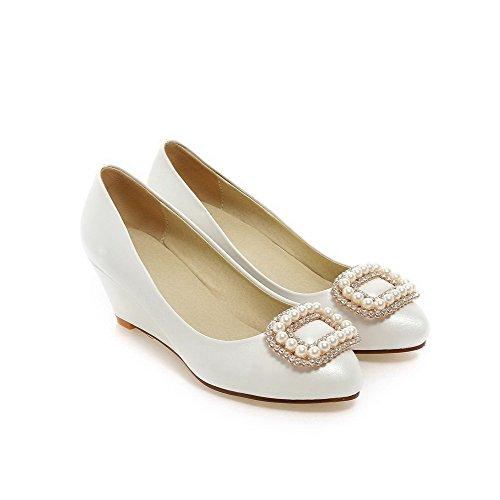 VogueZone009 Femme Couleur Unie Pu Cuir à Talon Correct Rond Tire Chaussures Légeres Blanc
