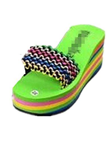 Boowhol Damen Flip-flops Pantoffeln Sandalen Strandschuhe Zehentrenner mit Keilabsatz Grün