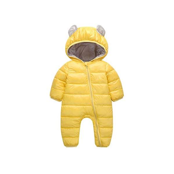 Traje de Esquí para Bebés K-Youth Ropa Bebé Invierno Traje de Nieve Peleles con Capucha Terciopelo Mameluco Bebé Recién… 1