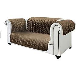 Sofa Cover Copridivano Sedili Singoli – 2 Posti – 3 Posti con Colore Double Face (Nero/Grigio o Marrone/Beige) (Marrone/Beige, 2 Posti)
