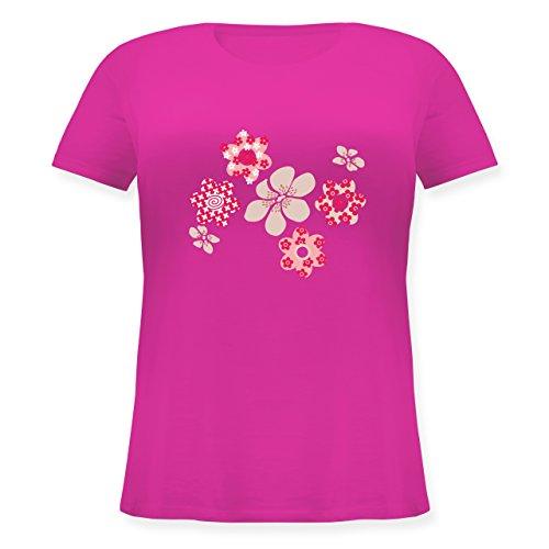 Blumen & Pflanzen - Blumen - Lockeres Damen-Shirt in großen Größen mit Rundhalsausschnitt Fuchsia