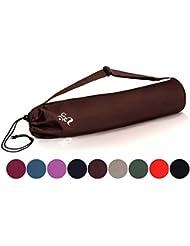 Bolsa de yoga »Devala« hecha con algodón de gran calidad, con un laborioso acabado / Para esterillas de yoga de hasta 180 x 62 x 0,6 cm / marrón chocolate