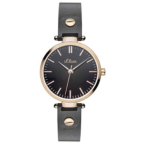 s.Oliver Damen-Armbanduhr Analog Quarz Leder Rosé SO-15091-LQR