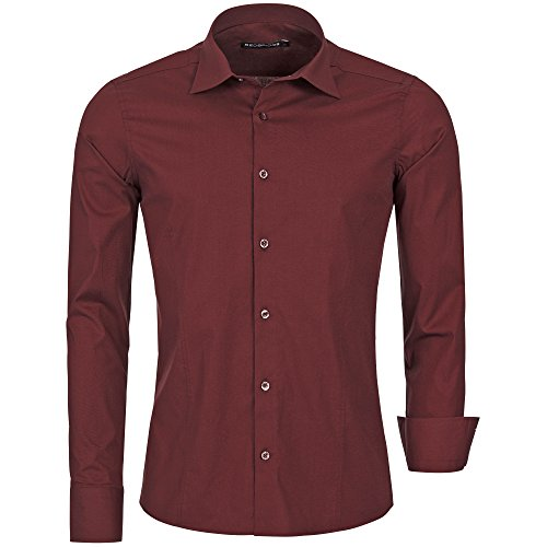 Redbridge - camicia da uomo, per il tempo libero, taglio regolare r 2111 bordeaux 2xl