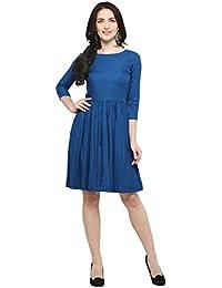 Inddus Blue Solid Flared Dress / Knee Length / Dress for women