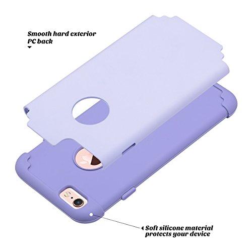 Cover iPhone 6S, ULAK Cover per iPhone 6 / 6s Custodia Stampato Design PC+ Silicone ibrido impatto grande Difensore Combo duro morbido Case per Apple iPhone 6 / 6S 4.7 (Oro Rosa) Viola chiaro
