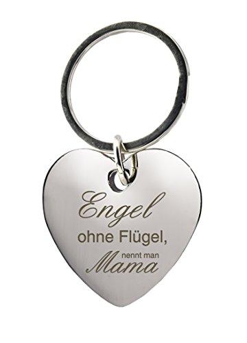 """Schlüsselanhänger Herz mit Gravur """"Engel ohne Flügel, nennt man Mama"""" – Chrom – Geschenk – Mutter – Muttertag oder als Geschenk zu Weihnachten"""