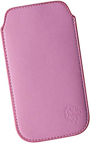 Dealbude24 Schutz Tasche für Sony Xperia Z5 Premium mit Hülle, Pull tab Hülle Handy herausziehbar, dünnes Etui genäht mit Rausziehband, innen weiches Microfaser mit exklusivem Adler Motiv SXS Rosa