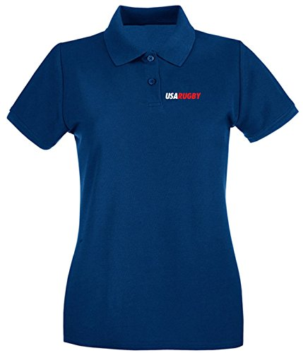 Cotton Island - Polo pour femme TRUG0095 ruggershirts usa rugby logo Bleu Navy