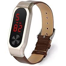 Para Xiaomi Mi Band 2 - Sannysis banda de cuero artificial de correas con metal funda (marrón)