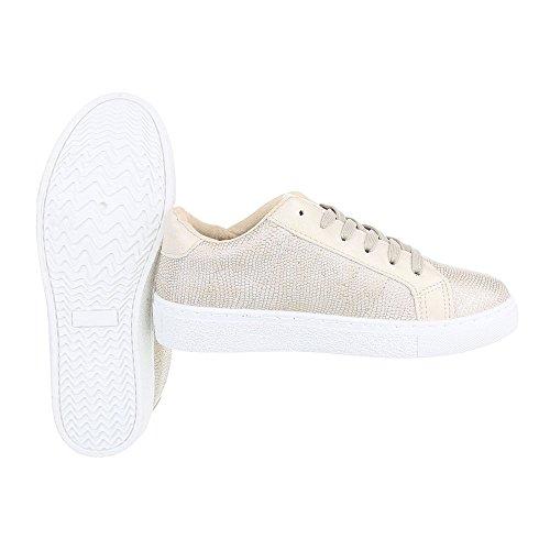 96622bc04ab04 Ital-design Scarpe Sportive Scarpe Da Donna Chiuse Sneakers Lacci Scarpe  Casual Oro 225- ...