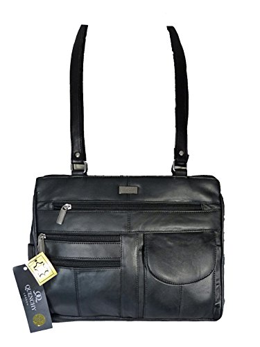 2d8878fae28c Ladies Leather Handbag in Soft Black Leather - Shoulder Bag with 2 Top  Handles – 8 Pockets – 2 Large Zipped Main Sections – Medium Practical Size  - Womens ...