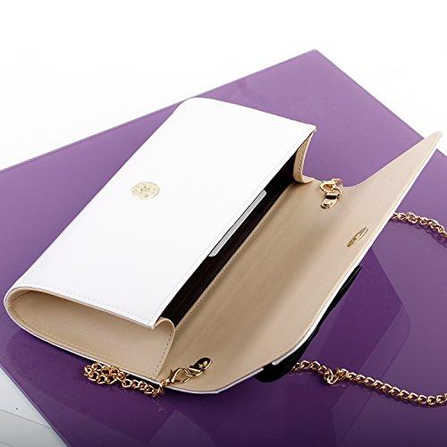 Visualizza storia abbagliante ragazze arco tono due Flap frizione sera borsa delle donne con tracolla in catena, FB90014 Bianco