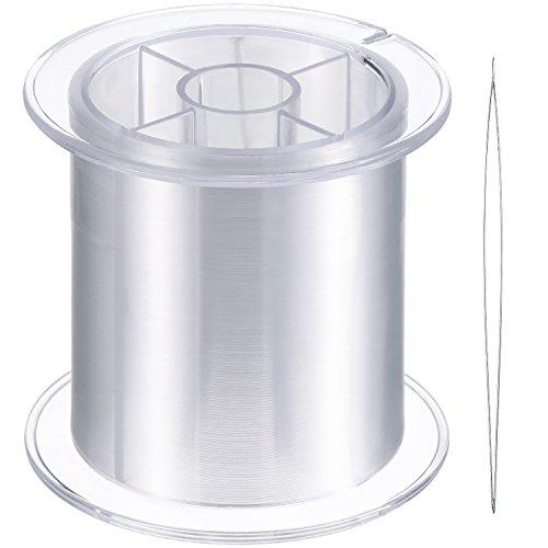 Blulu 500 m Klar Nylon Unsichtbares Faden für die Hängende Ornamente und Nähen Hobby, Stark und Unsichtbar, 0,25 mm, mit Perlen Nadel -