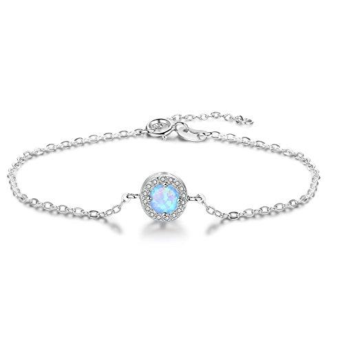Bo&Pao Opal Armband Damen Silber Sterling 925,verstellbar Armkette mit rund Opal Zirkonia Anhänger