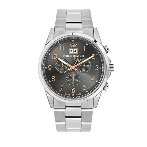Philip Watch Men's Watch, Capetown Collection, Quartz Movement and Chronograph with Big Date, Equipped with a Stainless Steel Bracelet - R8273612001