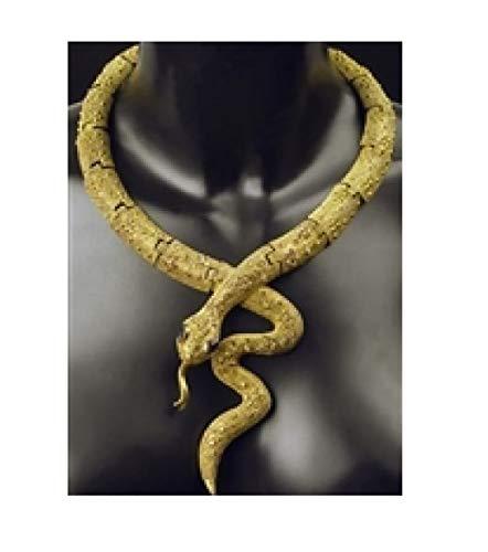 0-A goldfarbig Damen Halskette Kobra Pharaonen Schmuck ()