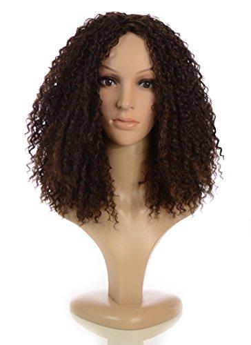 Schulterlange Afrolocken Perücke | Im Stil von Rihanna in Dunkelbraun