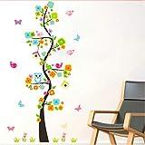 Mddjj Home Küche Kunstwerk Bunte Blume Baum Eule Schmetterling Vögel Wandaufkleber Für Kinderzimmer Dekor Cartoon Tier Wandtattoo Pvc-Poster Mädchen Geschenk