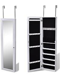 Tidyard Espejo Joyero Colgante Armario Espejo de Pared Armario para Joyas con 7 Compartimentos y 2 Puertas Ideal Decoración en Pared o Puerta Madera Sólida Blanco 30x7x106cm