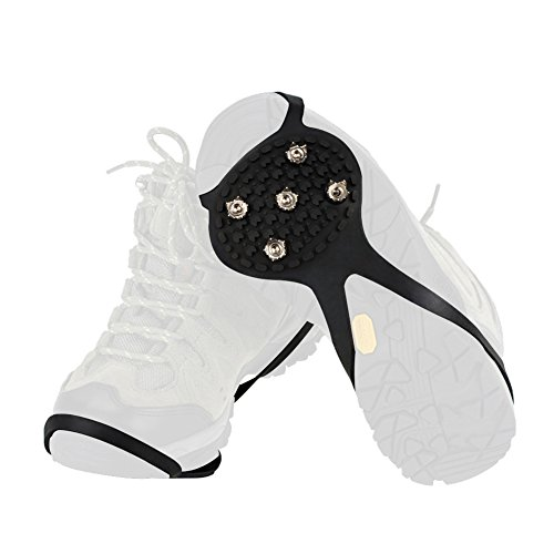 YOEEKU Outdoor Schuhspikes Eis Schneeschuhen,Spike Schuhe, Anti Rutsch Steigeisen 5 Zahn Rutsch-Untersatz für Schuhe Bergsteiger