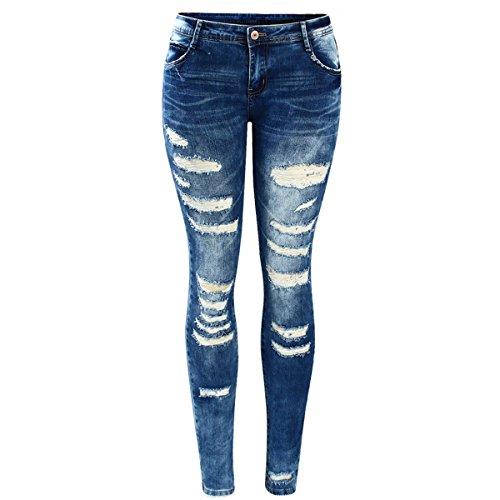 Damen Jeanshosen Frauen Promi Style Fashion Low Rise Skinny Distressed Gewaschen Stretch Denim Jeans Für Frauen Zerrissene Hosen (Tie-dye-stretch-denim)