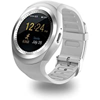 Bluetooth Smart Watch Zkcreation Smart Watch, Classic Round IPS touch screen impermeabile smartphone con SIM Card, fitness tracker, pedometro, compatibile con iOS e Android Phone(White) …