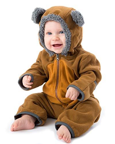 Funzies Fleece leichte Jacke - Winter Pyjama Oberbekleidung für Baby 0-3 monate Braun/Tan Bär