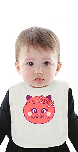 Cute cat Organic Baby Bib With Ties Medium