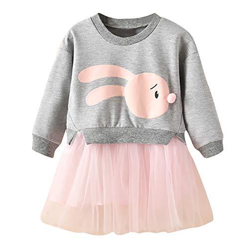Wagonste - Winter-Kind-Baby-Kleidung-Karikatur-Häschen-Prinzessin Patchwork-Sweatshirt Tüll-Kleid Kleidung Roupa infantil [24M Grau]
