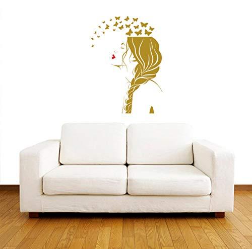 Finloveg Schönheitssalon Mädchen Gesicht Mit Schmetterlingen Kunst Vinyl Wandaufkleber Frisur Mode Barber Home Room Special Decor79X56 Cm