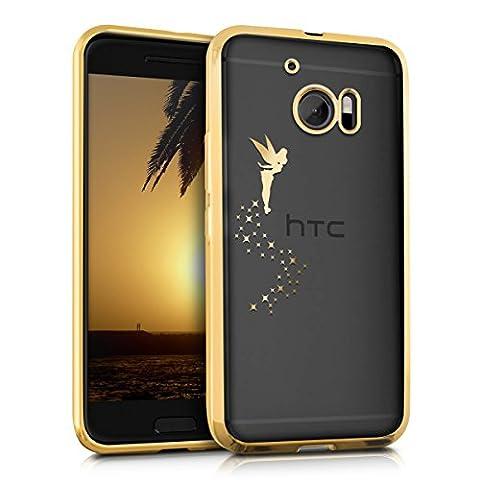 kwmobile Étui transparent en TPU silicone pour HTC 10 en doré transparent Design fée