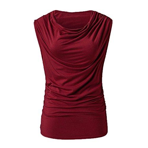 Lässige Cotton Polo Shirt (JYJM Damen Bekleidung Lässige Sommermode Sweatshirt Pullover Tops Bluse Shirt T Tops für Damen Plus Size Party Blusen für Arbeitsjacke Ärmellose V-Ausschnitt Plissiert Reine Farbe (XL, Rot))