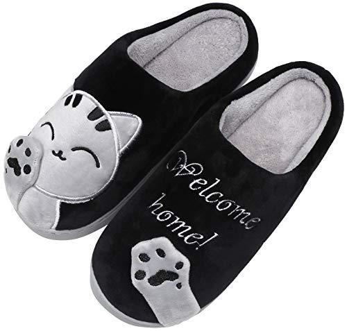 Mishansha Zapatillas Invierno Hombre Casa Zapatos Antideslizante CáLido Pantuflas Casa Cómodas Suave Slippers Negro Gr 39/40 EU