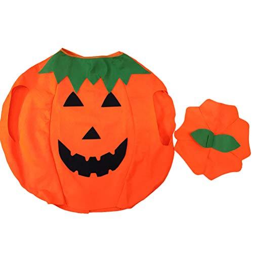 er Halloween Laterne Gesicht citrouille-vlies-kostüm Camicia Herbst auf mit Hut (Arancione) ()