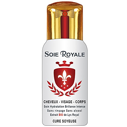 Soie Royale Cure Soyeuse Litre Extrait BIO de Lys Royal Protéines de Soie Antioxydant Vitamine E Soin Cheveux Visage Corps Nourrit Hydrate Démêle tous types de cheveux Brillance Intense sans alcool made in France