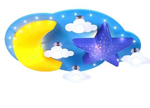 Deckenleuchte Mond Sterne Wolke LED Lampe Blau Kinderlampe Kinderzimmerlampe Holz Kinder Zimmer Schlafzimmerlampe Kinderleuchte Decken Modern Deckenlampe Leuchten Für Kinderzimmer Babyzimmer 70Cm