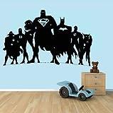 The Decal House Grande Justice League Super Héros DC Comics Superman Flash Green Lantern Batman Wonderwomen Autocollant Mural Home Decor Autocollant (76,2x 121,9cm)