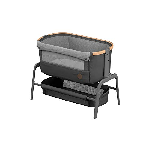 Maxi-Cosi Iora-Beistellbett mit weicher Matratze, Reisebett, geeignet ab der Geburt, 0 Monate - 9 kg, Essential Graphite (grau)
