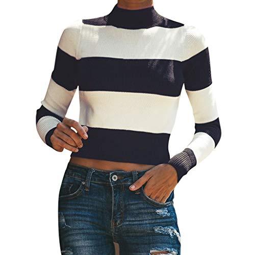 Amcool Neu Damen Pullover Langarmshirt Streifen Langarm T-Shirt Casual Rundhals Kurz Tunika Sport Crop Basic Tops Oberteile Mit Strappy - Klassische Strand-streifen-shirt